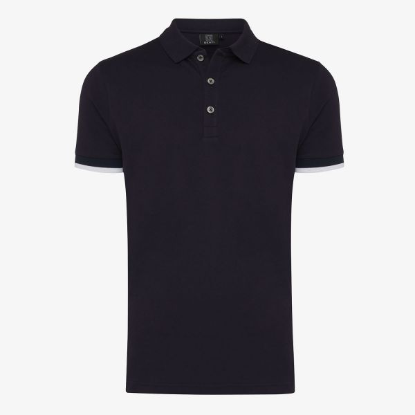 PIQUET STRETCH  POLO TAPING NAVY