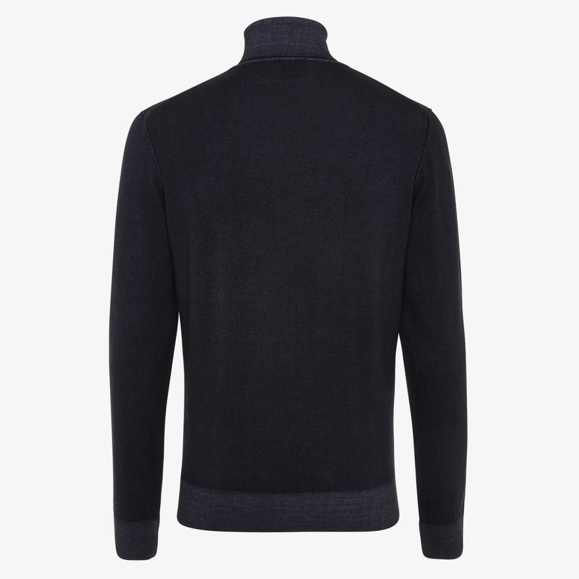 Wollen coltrui washed donkerblauw